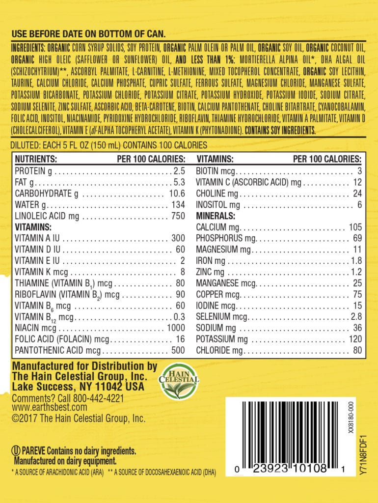 Non-GMO Plant Based Soy Baby Formula